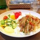 ポーク丼ジンジャー丼(サラダ添え・スープ付)